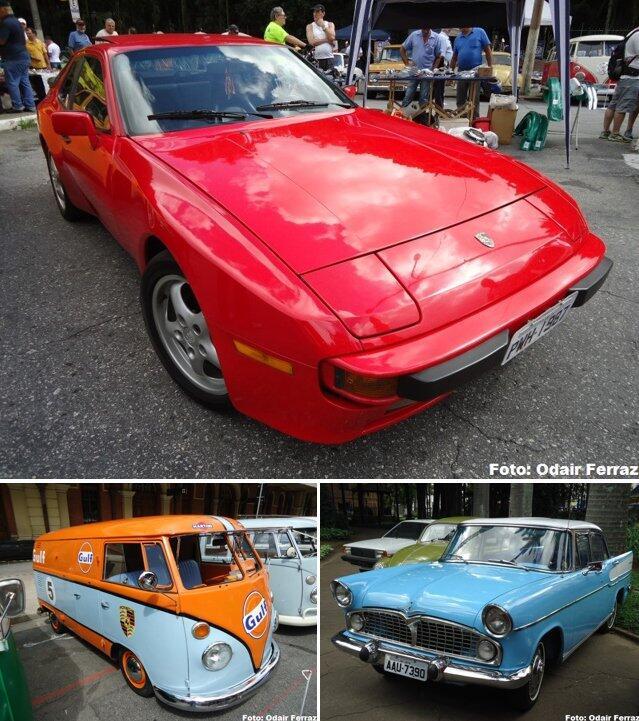 """No alto, Porsche 944 1987. Abaixo, Kombi """"Gulf - Porsche"""" e Simca Chambord"""