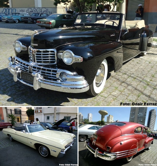 No alto, Lincoln Continental 1947. Abaixo, Impala 1968 e Chevrolet Fleetline 1946