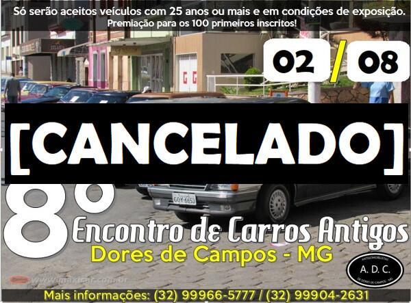 8º Encontro de Carros Antigos de Dores de Campos cancelado