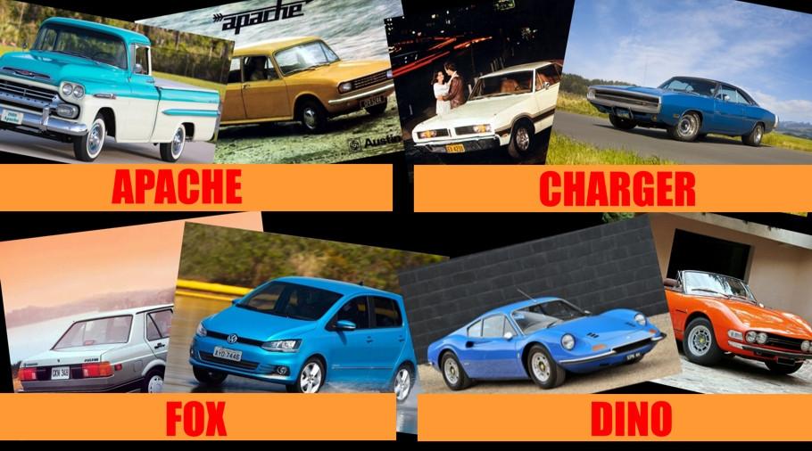 Carros diferentes, nomes iguais