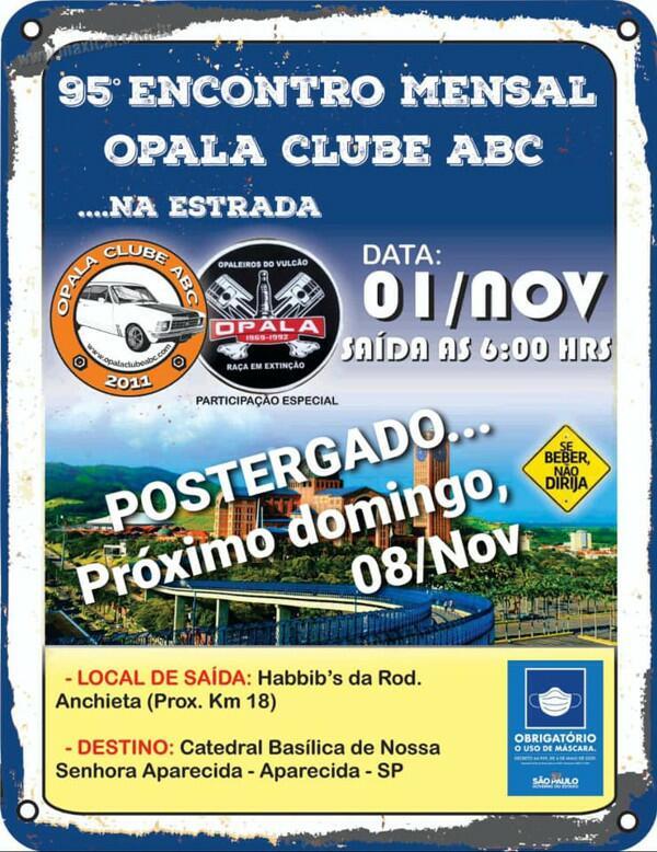 95º Encontro Mensal Opala Clube ABC - Passeio para Aparecida